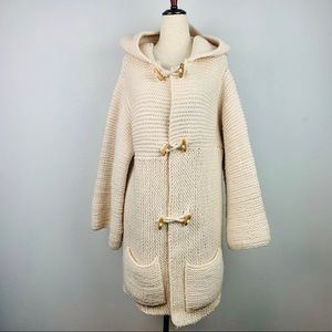 Vintage Hand Knitted Soft Hooded Sweater Jacket